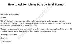 joining date email to HR, joining date mail Format