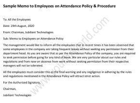 Sample Memo to Employees on Attendance Policy and Procedure