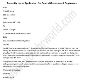 Paternity Leave Application Format for Central Government Employees