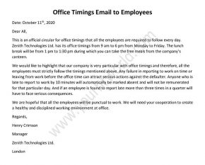Office Timings Email to Employees, Office Timings Mail Format