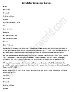 how to write a claim letter, Sample claim letter format, Example