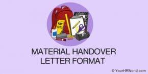 Material Handover Letter Format Sample Doc