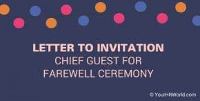 Sample Invitation letter to Chief Guest for Farewell Party